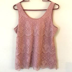 Maurice's Lace Over Tank Mauve